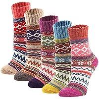 zxsales 5Pack Womens clásico Calcetines de lana de invierno suave cálido gruesa frío