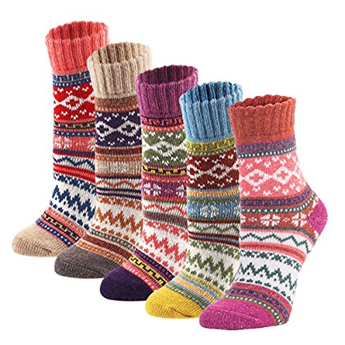 Zxsales 5Pack Womens Vintage Winter Soft Warm Thick Cold Knit Wool Crew Socks Gifts For Women