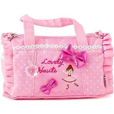 3db3bff8a66f6  パールパティ  ポシェット ショルダー バッグ キッズ 子供 バレエ柄 リボン ピンク スマホ かばん 鞄