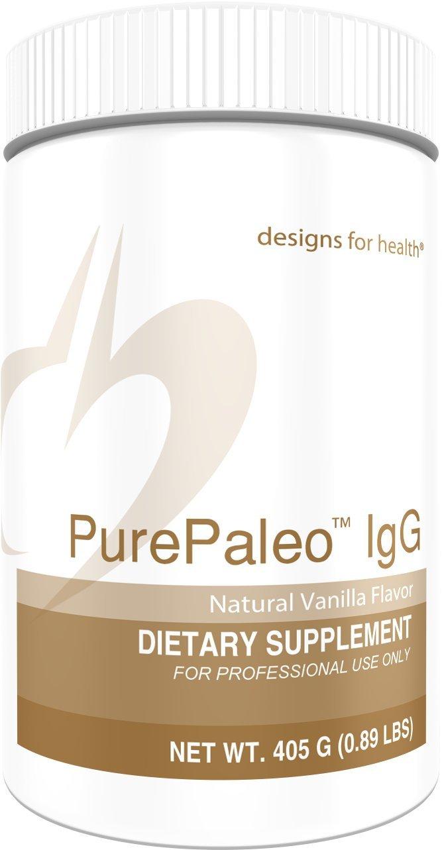 Designs for Health - Vanilla PurePaleo IgG - Protein Powder with BCAAs + Immunoglobulin, 405g