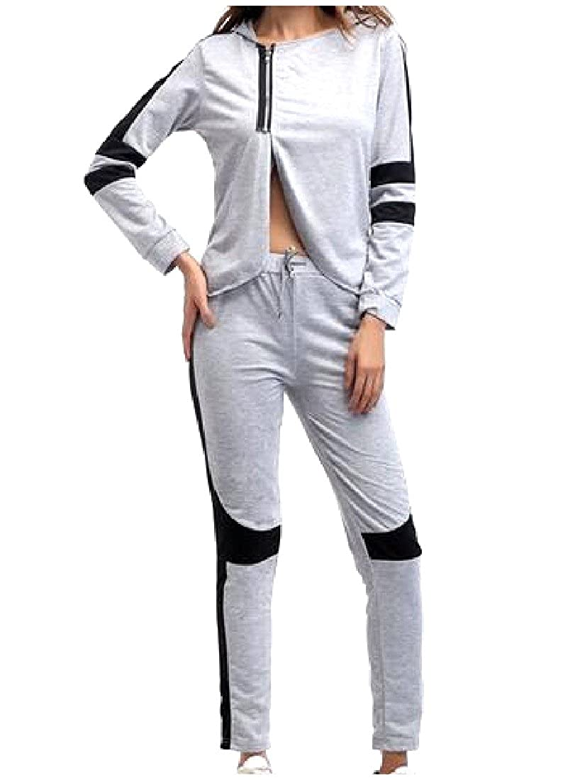 RSunshine Womens Fitted Suit Running Two-piece Hooded Printed Tracksuits
