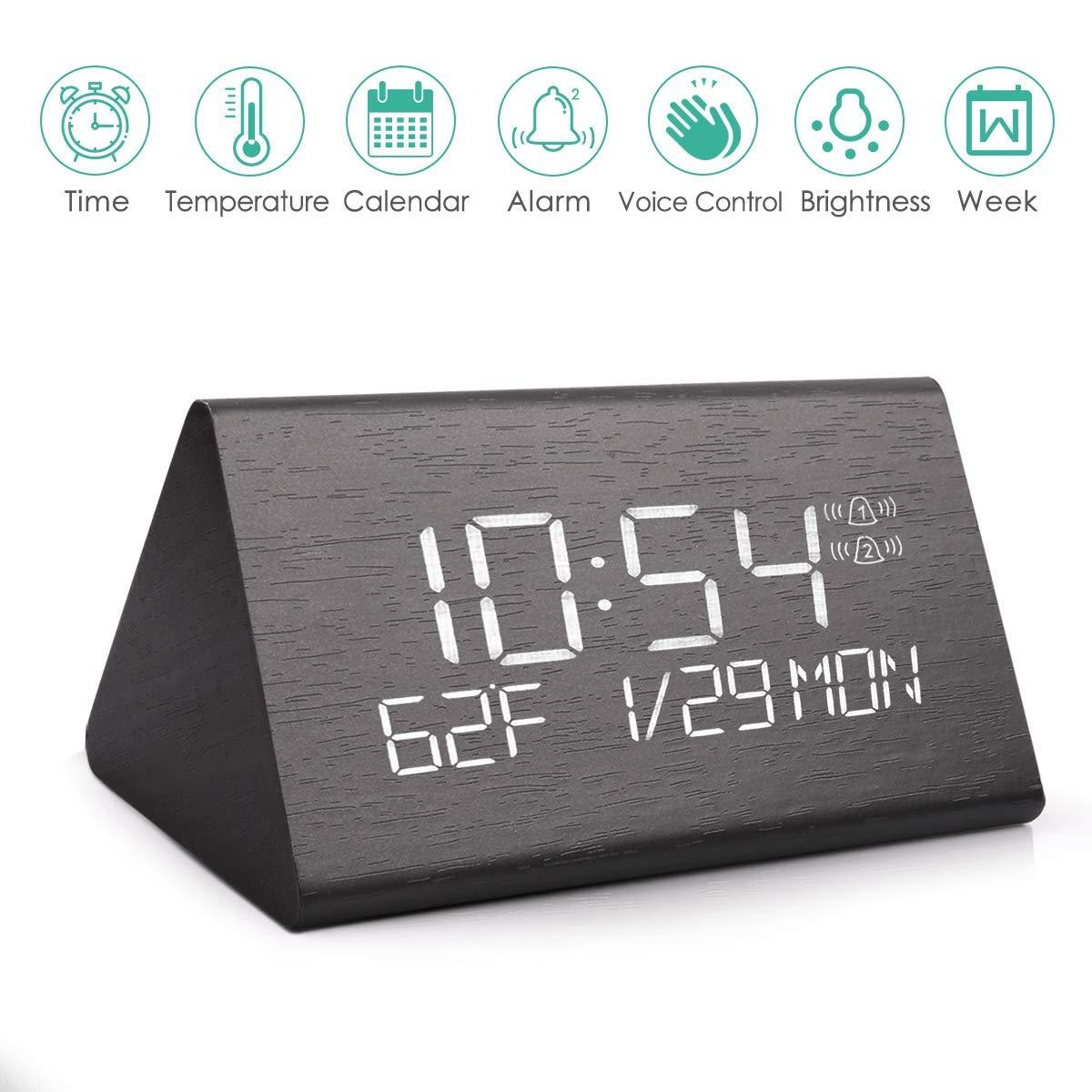 AZbornaz Wood Alarm Clock Block, Wooden LED Digital Electronic Bedside Shelf Desk Display – Wireless Battery Power, USB Charger, Dimmable, Calendar Date, Temperature, Voice Control – Modern Black