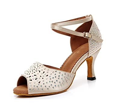 b844debfe4 Amazon.com | Minishion Women's Peep Toe Studded Nude Satin Latin ...