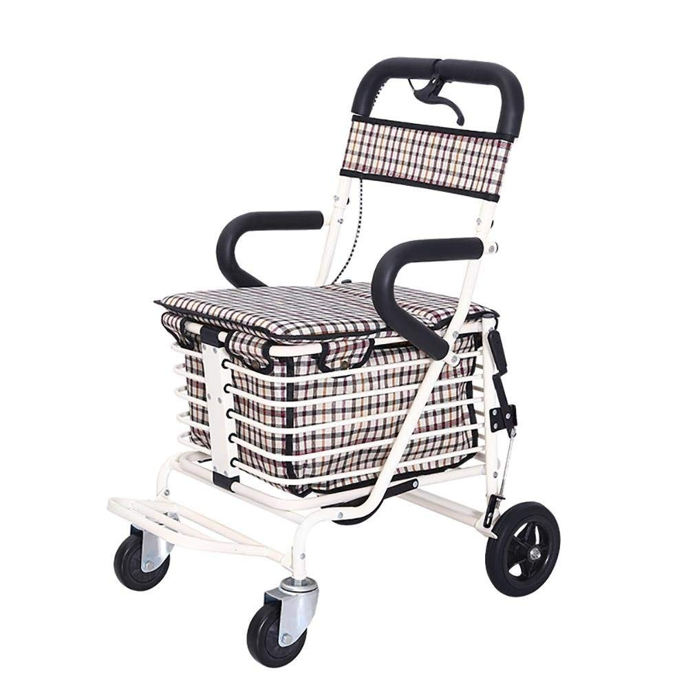 買物かご、トロリー軽量のアルミ合金の折り畳み式の携帯用Rollator買物かごが付いている年配の買物車 (色 : A)  A B07R3D8PY9
