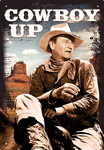 (Aquarius John Wayne Cowboy Up 8X11.5 Tin Sign)