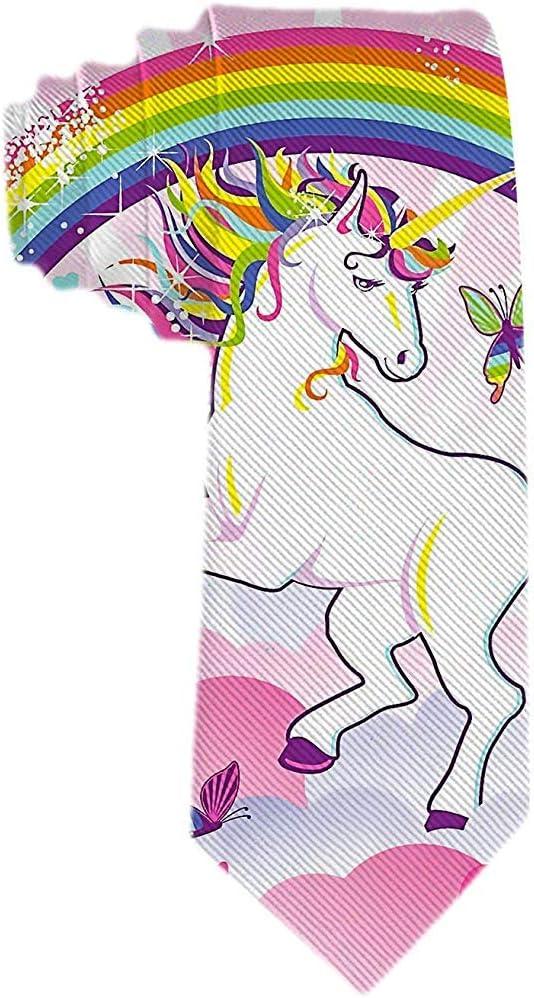 Hombres S Corbata Unicornio de dibujos animados Rainbow Star y ...