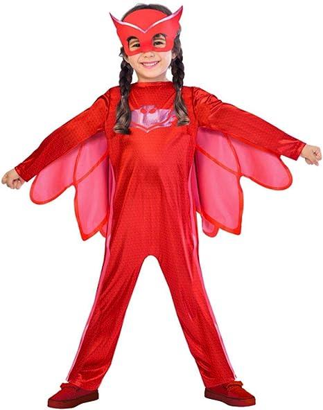 amscan PJMASQUES BIBOU-Owlette Disfraz 9902950, Rojo, 7/8 años