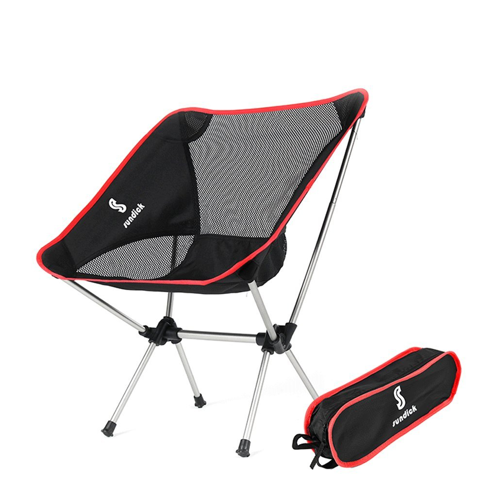 MUTANG Outdoor ultra light portable folding chair Moon chair back aluminum fishing stool director chair painting chair (Color : Red) by MUTANG