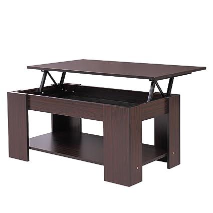 Amazon Com Lazymoon Walnut Wood Lift Up Top Coffee Table Laptop