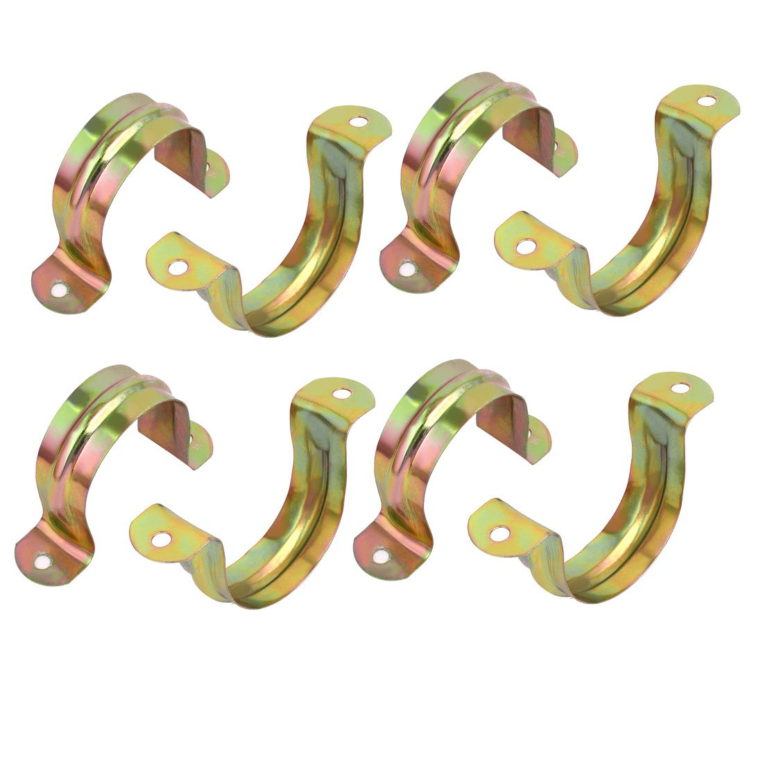 uxcell 60mm Dia Yellow Zinc Plated U Shaped Tube Pipe Strap Clamp Bronze Tone 8pcs