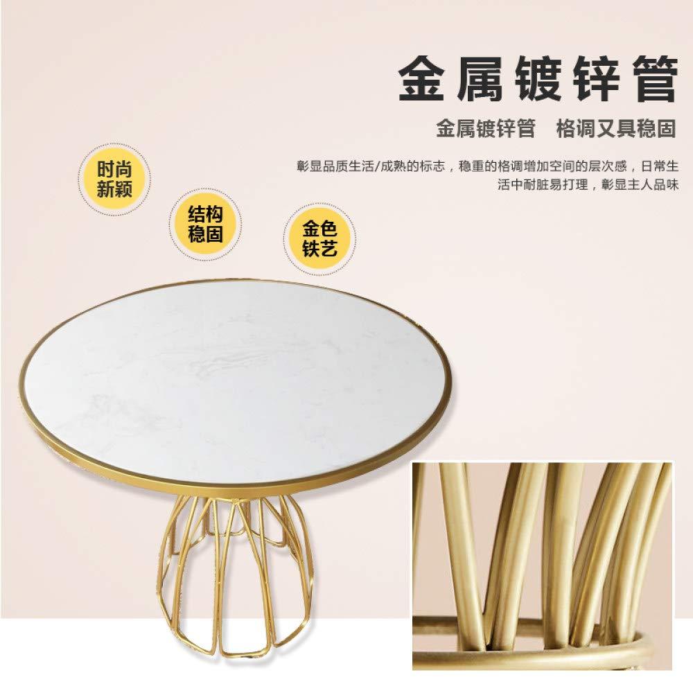 POXZPM matbord guld järnkonst marmor cirkel utställningsrum matbord liten lägenhet stil vardagsbord, 80 x 80 x 75 cm 90x90x75cm