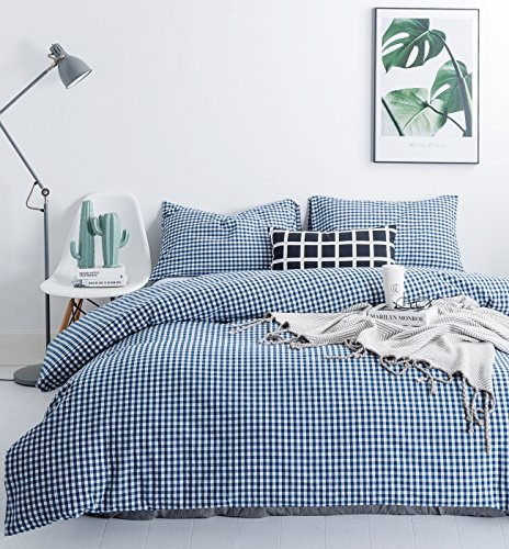 Wonderful 3 Piece Chenille (SUSYBAO 3 Pieces Duvet Cover Set 100% Natural Washed Cotton King Size Blue 1 Duvet Cover 2 Pillowcases Hotel Quality Soft Comfortable Breathable Gingham Plaid Checkered Pattern with Zipper Ties)