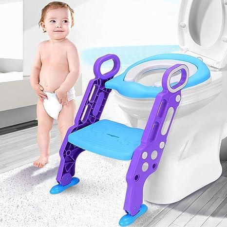 Leting Asiento con Escalera Orinal Silla del tocador de Niños para WC, Escalón Plegable Orinal Ajustable para Niños de 1-7 Años (Azul): Amazon.es: Bebé