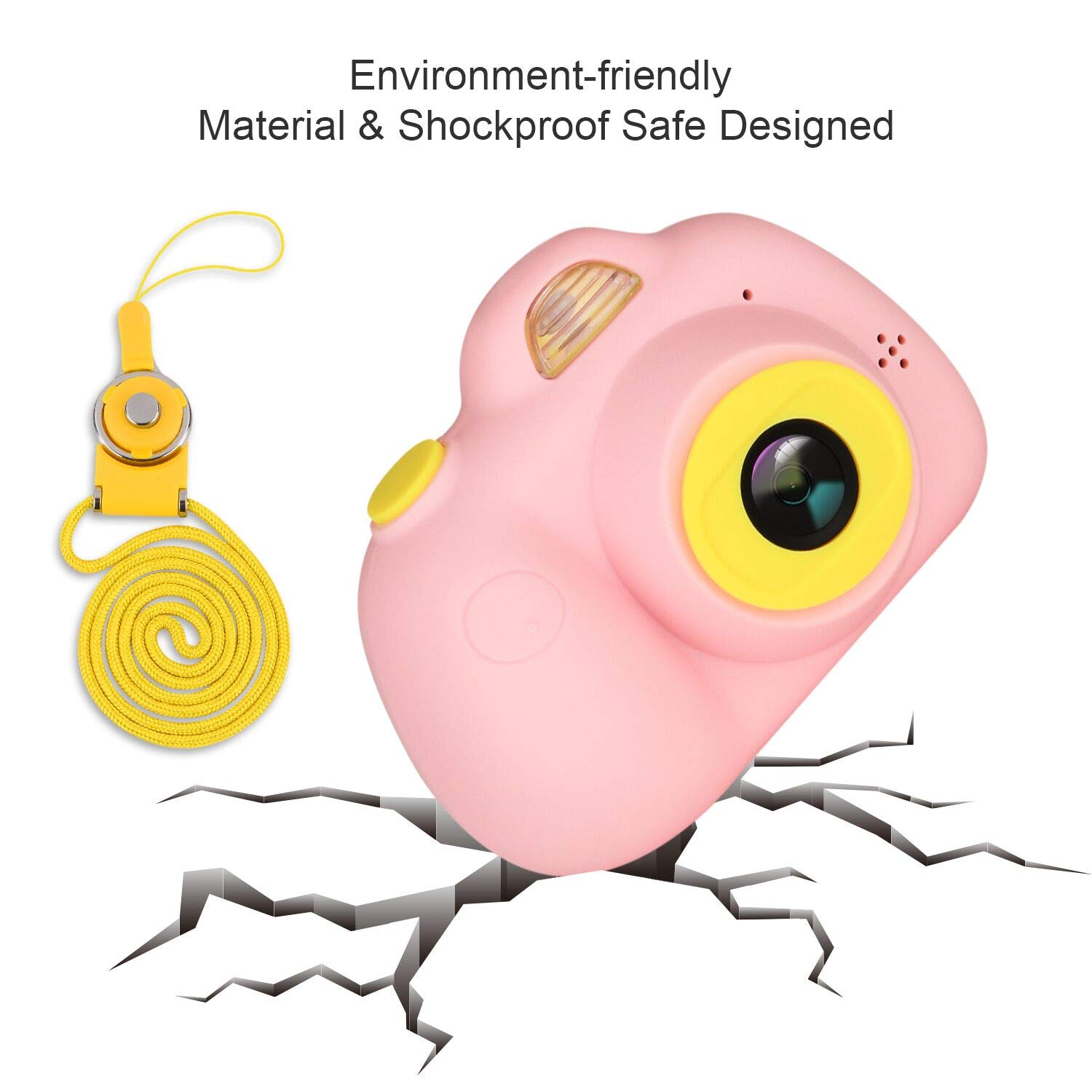 eyesen Kids Camera for 3-10 Year Old Children 1080P HD Rechargeable Digital Child Camcorder Shockproof Selfie Mini Camera with Soft Silicone Shell and 2 Inch Screen for Kids, Pink by eyesen (Image #2)