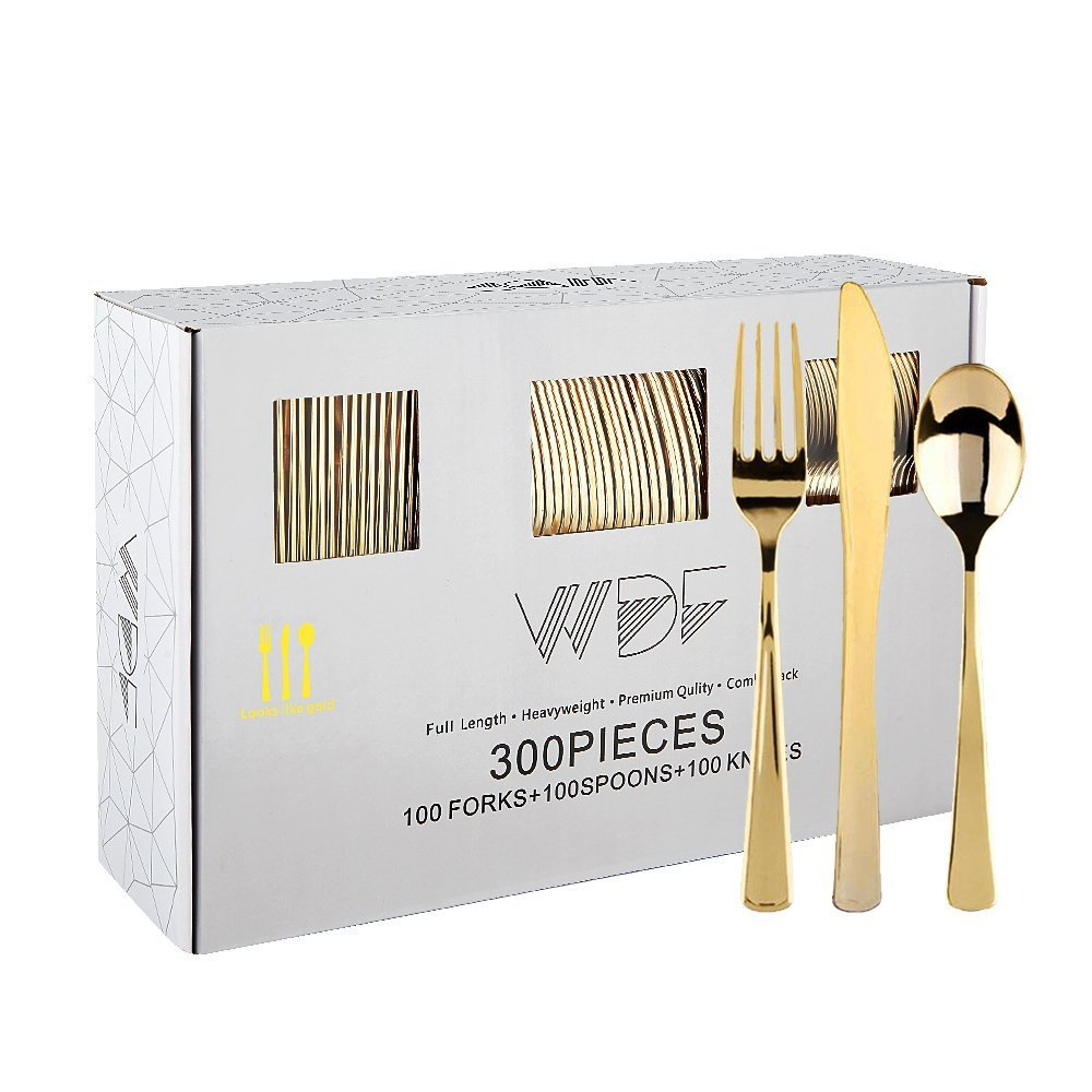 300 Pieces Gold Plastic Silverware- Disposable Flatware Set-Heavyweight Plastic Cutlery- Includes 100 Forks, 100 Spoons, 100 Knives -WDF