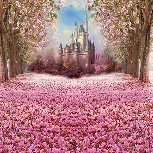 Muzi Photography Backdrop Fairy Tale Castle Beautiful Pink Woods Children Princess Girls Photo Booth Backdrop Studio Props with Flowers on the Floor in Spring 8x8ft (Photo Booth Wedding Backdrop)