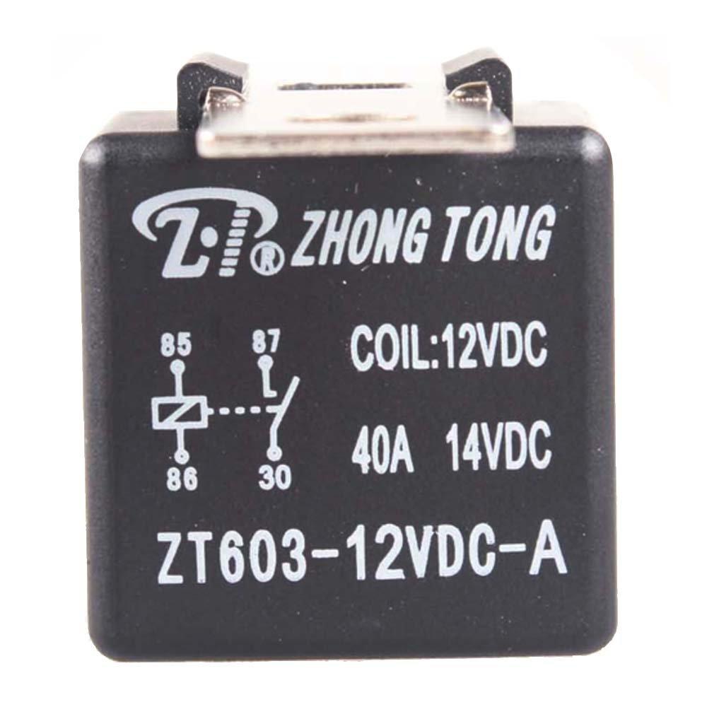 E Support/™ Car Automotive Truck Alarm 12V 12 Volt DC 40A AMP Spst Relay 4Pin 4P Iron Back