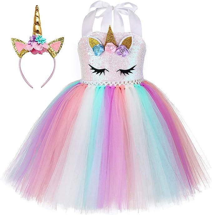 qianchuangyuan Robe de Princesse Fille Licorne Paillette Arc en Ciel Tutu Robe Enfant Mariage Soir/ée D/éguisement Jupe Dentelle Volants Robe sans Manches Cosplay Halloween 2-12 Ans