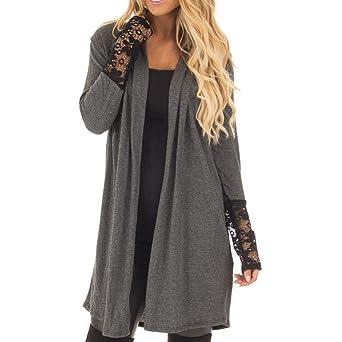 Reaso Cardigan à Manches Longues Manteau Hiver Gilet Femme Veste Chic Hauts Tricot Sweat Shirt Asymétrique Pullover Kimono Casual Mi Longue Pull