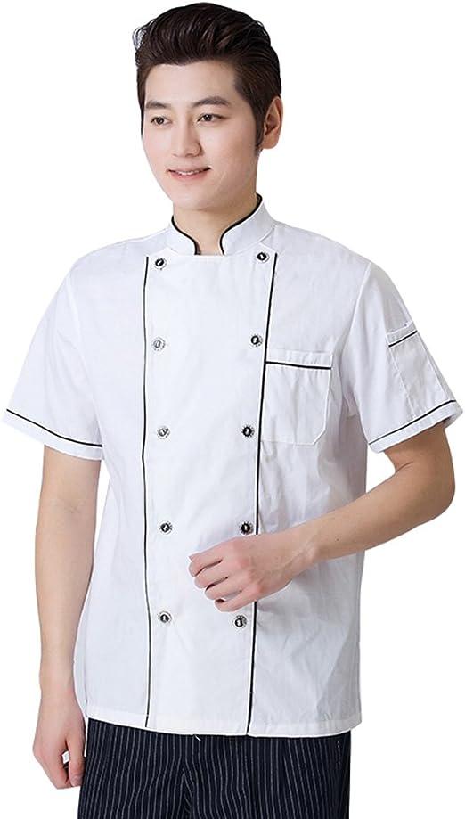 Wangjie Chaqueta de Chef Camisa de Camarero de Mangas Cortas Transpirable Suave Cómodo para Verano para Restaurante Negro 3XL: Amazon.es: Hogar