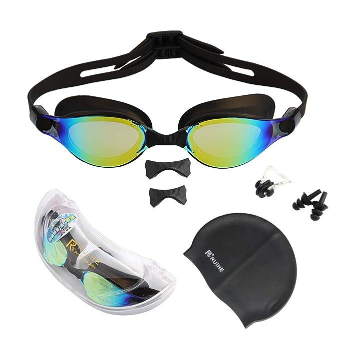 Amazon.com: RUIHE anteojos de natación de lente plana ...
