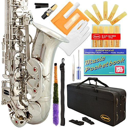 Lazarro 360-NK E-Flat Eb Alto Saxophone Silver Nickel with Case, 11 Reeds, Care Kit & Many Extras by Lazarro