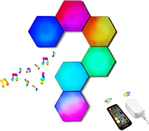 Hexagon Light Panels Music Sync,Smart LED Wall Gaming Lights Built-in Mic,16 Million Color Changing RGB Modular Lights with RF Remote,DIY Geometric Night Light for Bedroom Bar Cafe Party Decor,6 Pack