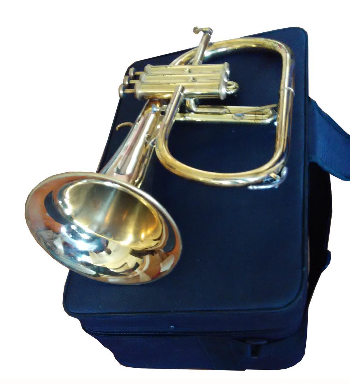 2016 Great Value 3-Valve Bb Natural Brass Flugel Horn Flugelhorn with Designer Hardcase superbrass.com