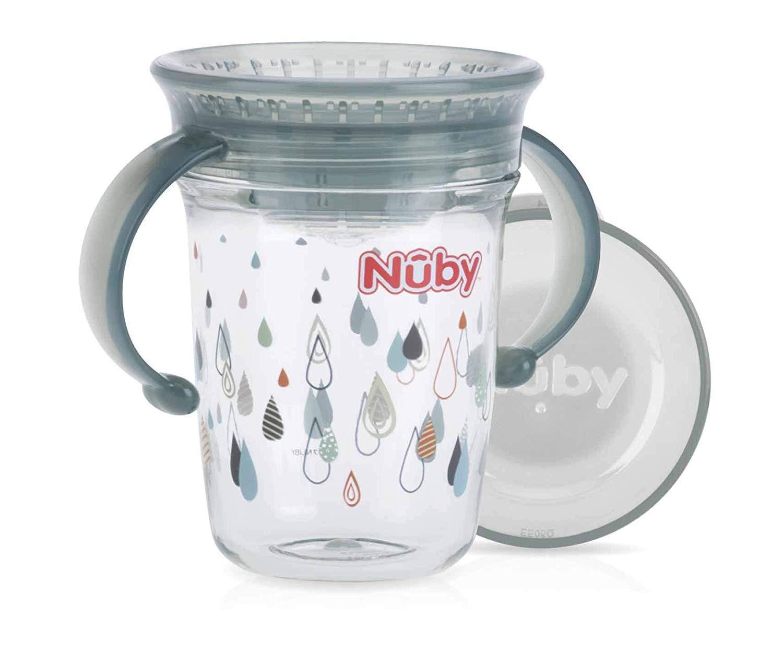 Tritan 360/° Wonder Cup mit Handgriffen 6 Monate 240ml Aqua Blau Nuby