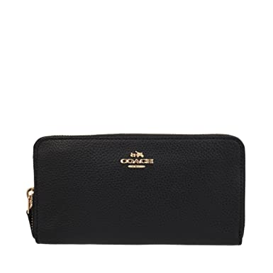Wallets - Accordion Zip Around Pebbled Leather Black - black - Wallets for ladies Coach cG98CWhAg