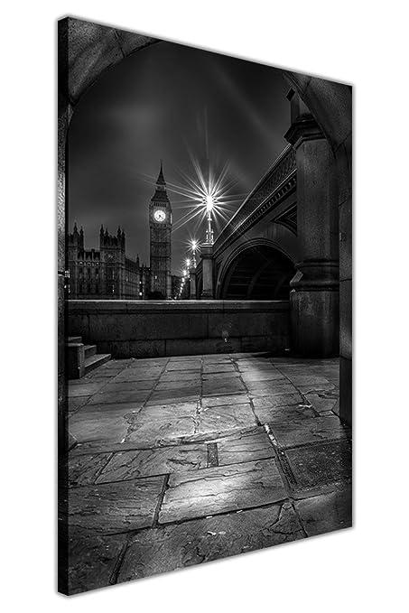 Blanco y Negro icónico Big Ben en la noche sobre lienzo enmarcado ...