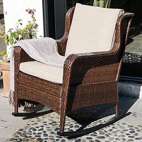 SUNSITT Outdoor Resin Wicker Rocking Chair with Olefin Cushions, Patio Yard Furniture Club Rocker Chair, Brown Wicker & Beige Cushions
