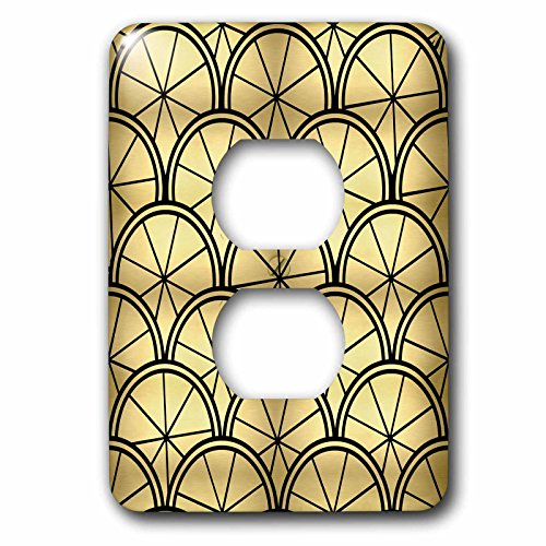 (3dRose Janna Salak Designs Art Deco - Art Deco Design Gold and Black - Light Switch Covers - 2 plug outlet cover (lsp_212492_6))
