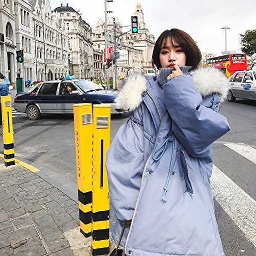 TSINY G Women's Loose BF Style Hooded Cotton Jacket Winter Warm Coats ( Color : Blue , Size : M ) by TSINY G (Image #1)