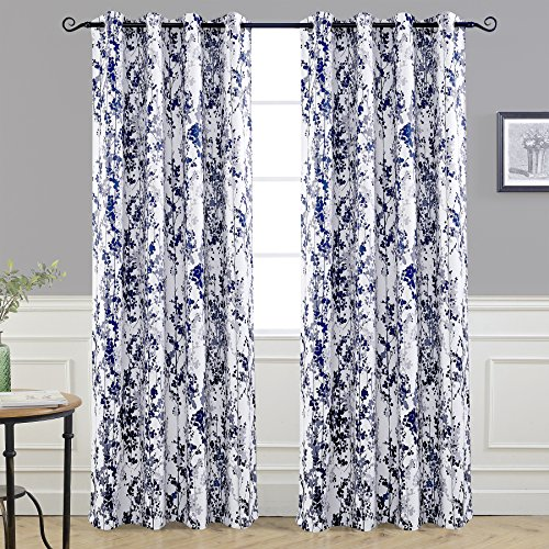 DriftAway Leah Abstract Floral Blossom Ink Painting Room Darkening Thermal Insulated Grommet Unlined Window Curtains 2 Panels Each Size 52 Inch by 96 Inch Navy Silver Gray (Blue Panel Curtains And White)