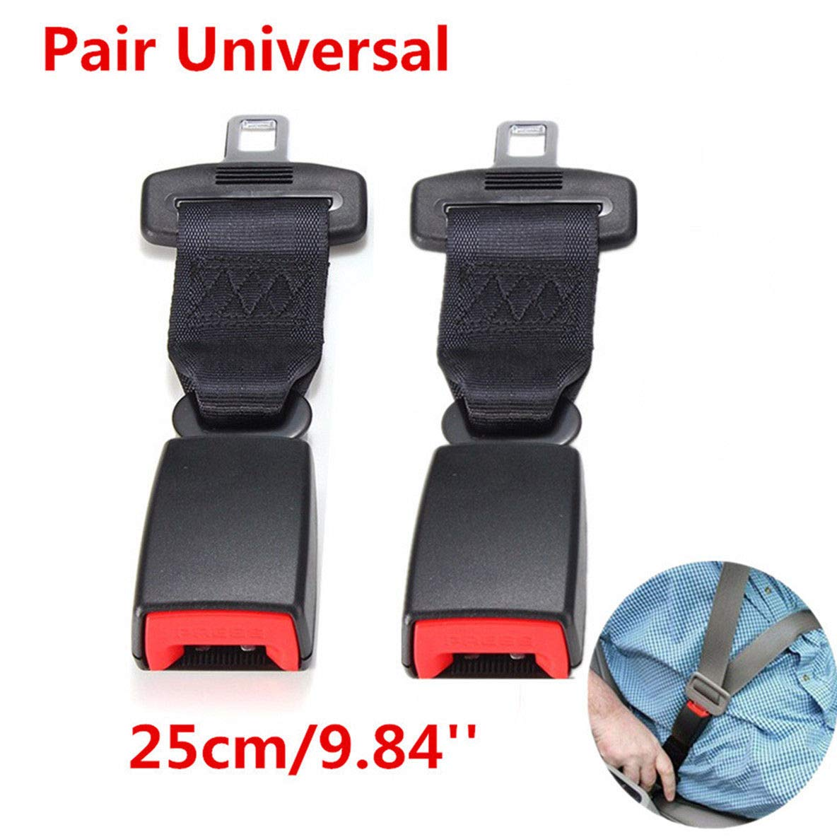 FidgetFidget Seat Belt 2PCS 25cm/9.84'' Car Extenders Safety Belt Extension Buckles Universal