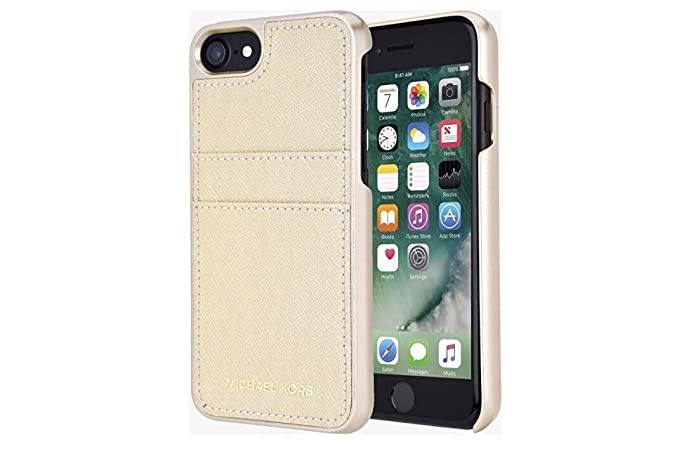 new product 1a0a4 8ac5d Michael Kors Saffiano Leather Pocket Case for iPhone 8 & iPhone 7, Pale Gold