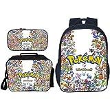 Kids 3D Galaxy Pikachu School Bags Lunch Box and Pencil Case Set Teen Girls Pokemon Go Cartoon Lunch Bags Women Pokeball Laptop Backpacks Men Travel Rucksack Pokemon Backpack Set for Boys 16SET-248