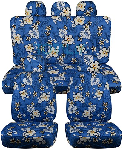 Hawaiian Print Car Seat Covers w 5 (2 Front + 3 Rear) Headrest Covers: Blue w Flowers - Semi-Custom Fit - Full Set - Will Make Fit Any Car/Truck/Van/SUV (6 Prints)