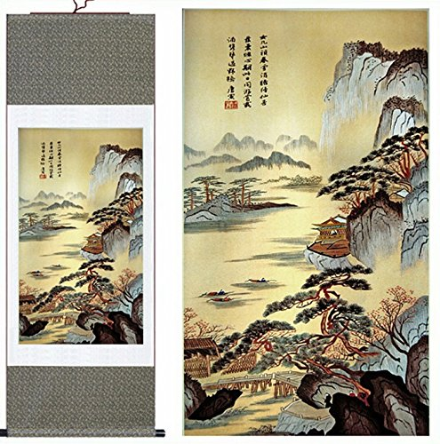 MODEBESO Silk Chinese Painting landscape Home Decorate Calli