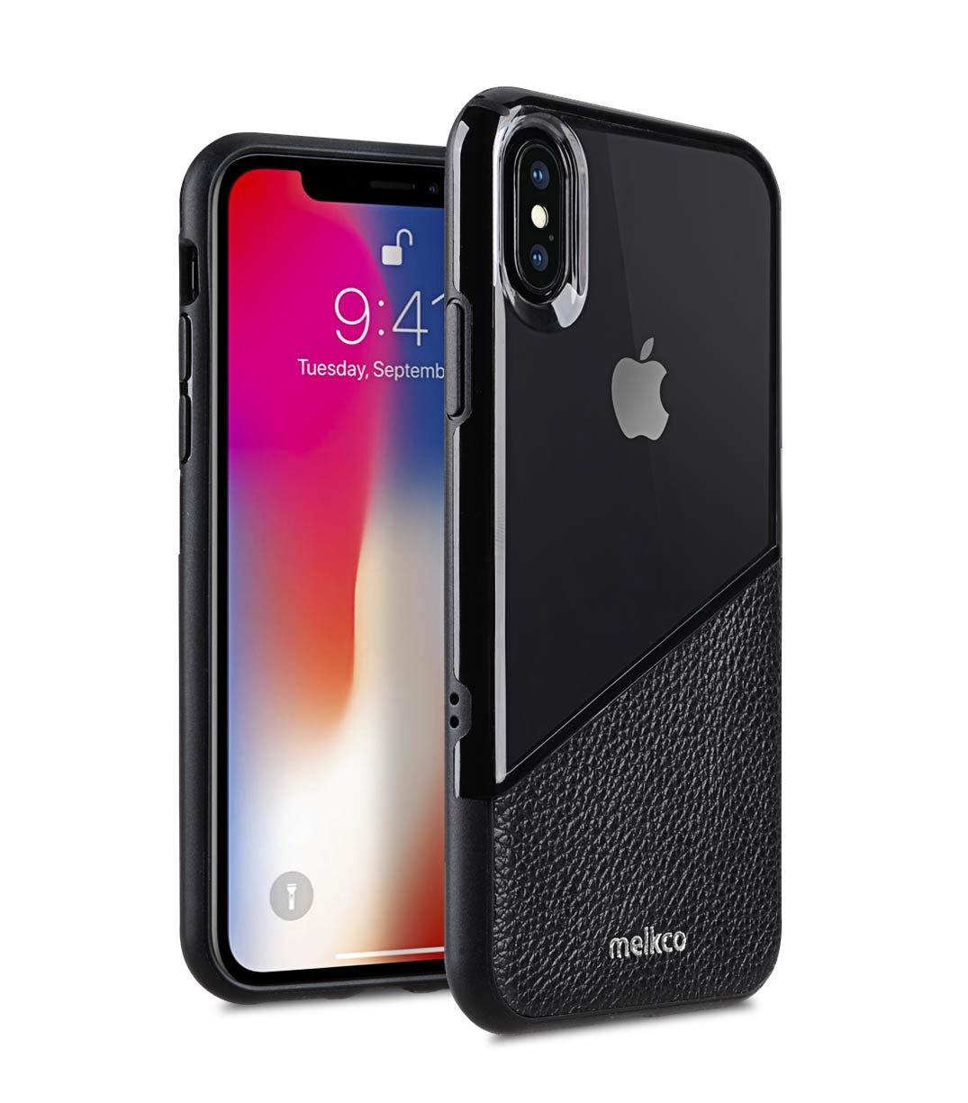 Melkco Kubalt Edelman Series Layer Apple iPhone X Support Wireless Charging Rugged Case, Shock Protection, Raised Bevel, Edge Protection, Military Grade Case - Black