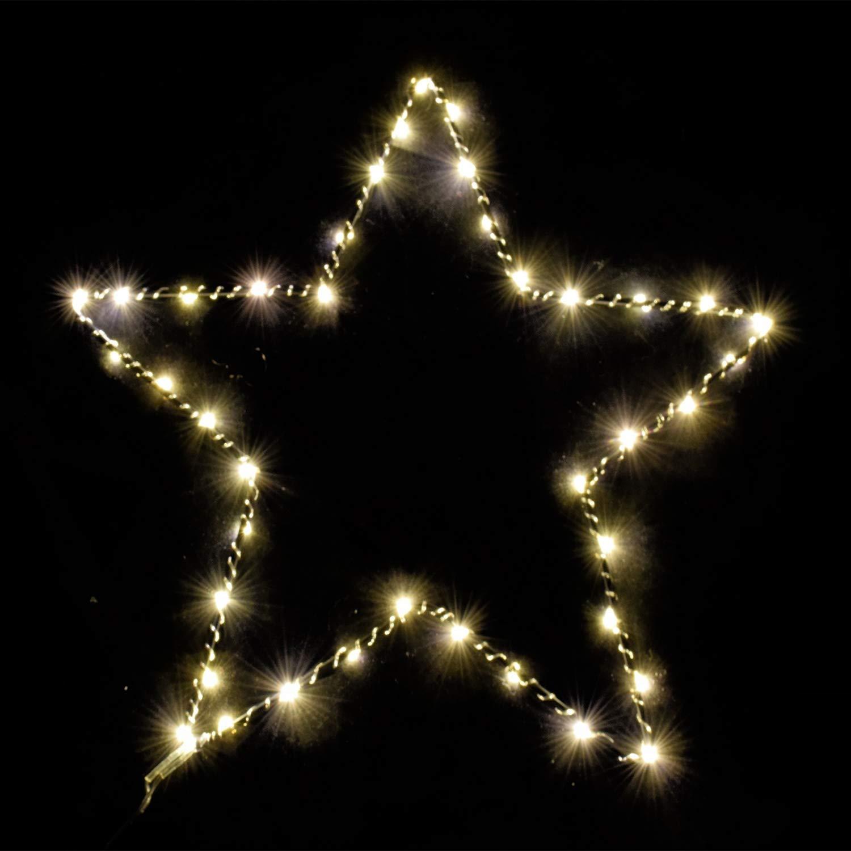 Mojawo LED Stern 60 LEDs Fensterdekoration mit Timer Weihnachtsbeleuchtung Ø 50 cm Weihnachtsstern Dekoration Wandleuchte Mojawo®
