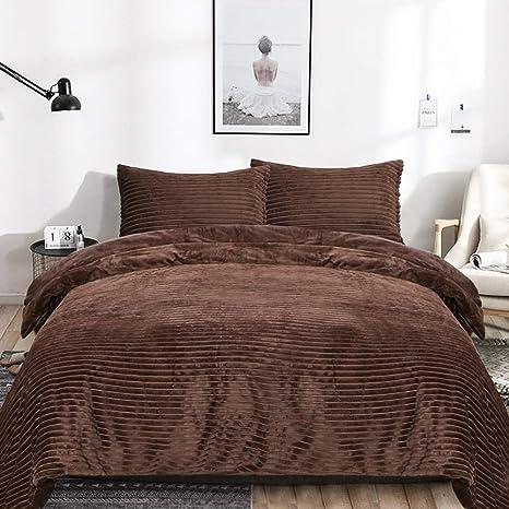 Check Duvet Cover Set Teddy Fleece Cozy Warm Winter Red Teddy Bear Bedding