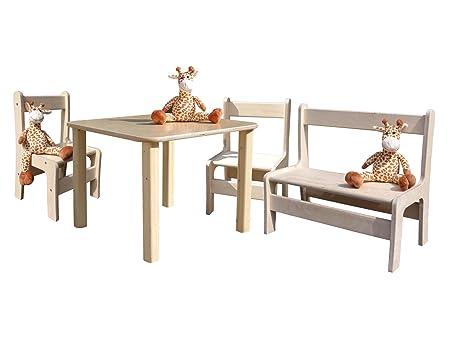 Lätt – Niños Muebles – 1 mesa, 2 sillas, 1 banco: Amazon.es: Hogar