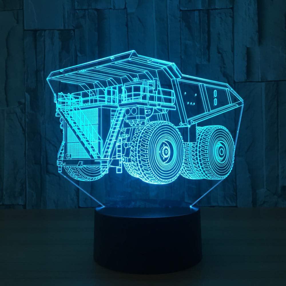 BFMBCHDJ Lámpara de 7 colores Hual Truck 3D Visual Led Night ...