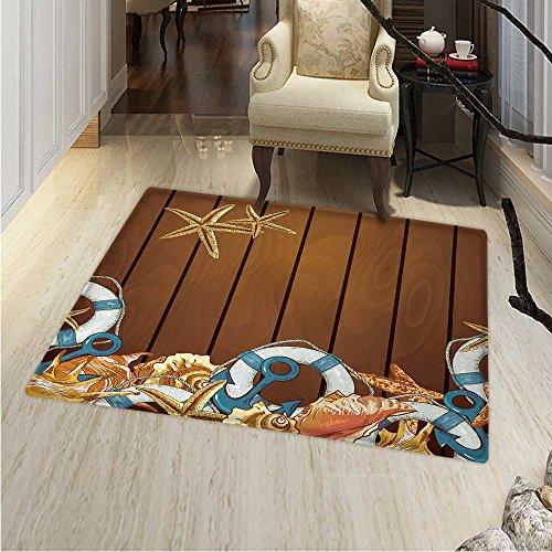 Seashells Small Rug Carpet Seashells Anchors Starfish on Wooden Backdrop Nautical Elements Sea Theme Door mat Indoors Bathroom Mats Non Slip 2'x3' Brown Blue White
