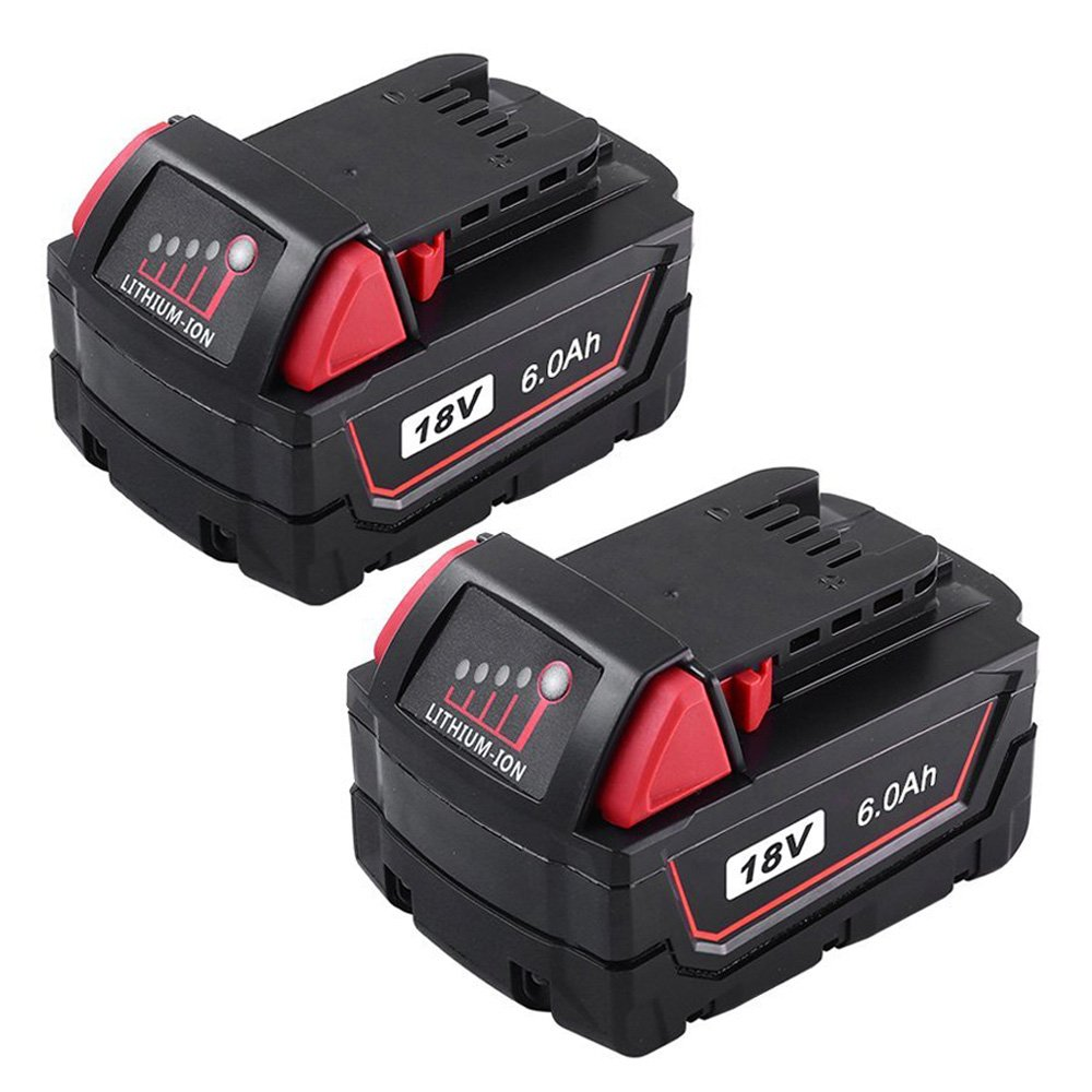 Replace M18 18V Battery for Milwaukee XC 6.0Ah Lithium Extended capacity M18B 48-11-1850 48-11-1852 2Pack