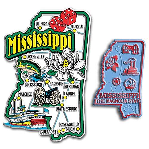 Jumbo & Small State Map Magnet Set - Mississippi
