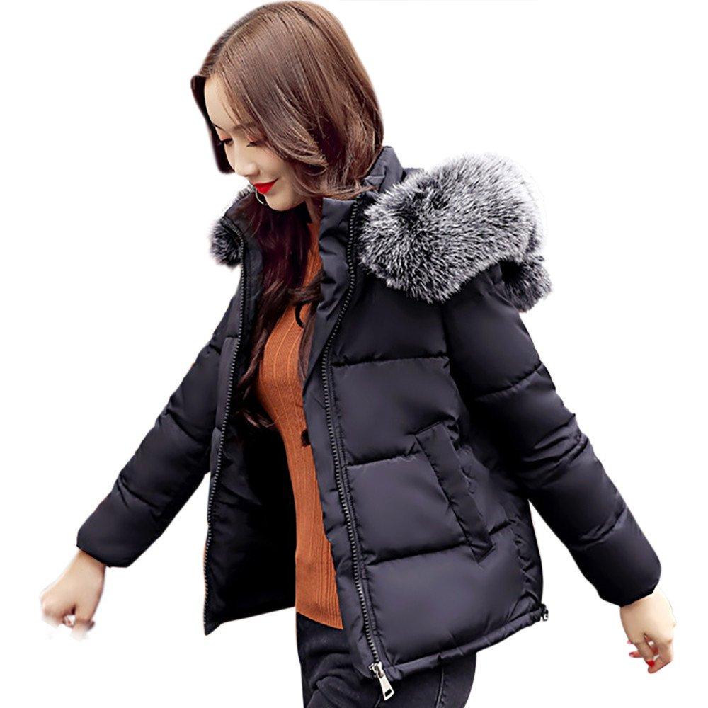 Sonnena nuevo para mujer señoras acolchado abrigo de invierno acolchado cuello de piel con capucha c...