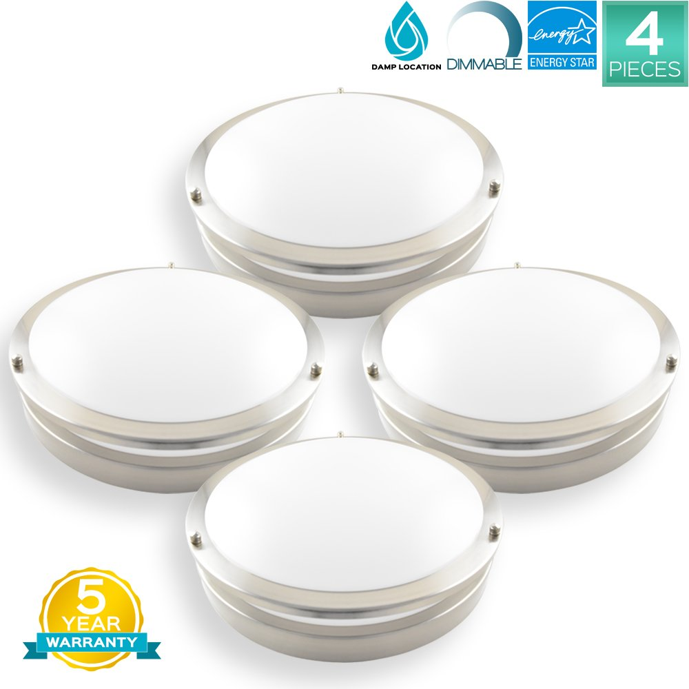 Pack of 4 Luxrite 12 Inch Flushmount LED Emergency Light For Home, 18W, 4000K (Cool White), 1380LM, Dimmable, Ceiling Light Fixture, ENERGY STAR, ETL Listed, Damp Rated, Battery Driver Not Included